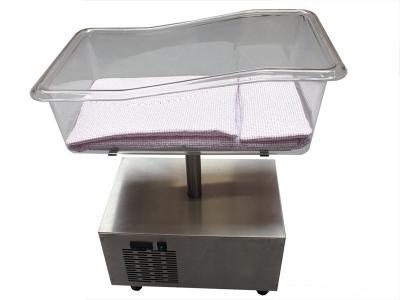 Koel wiegje, complete koeler voor baby's voorzien van wiegje, bekleding,  dekje, matras en kussentje en verrijdbare koelunit voor de uitvaart  type K153WK